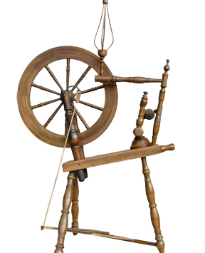 Spinning wheels, busy all winter, are put away at Lasiainen.